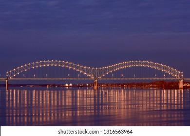 Memphis bridge over Mississippi River at twilight