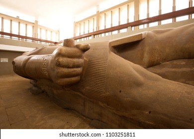 MEMPHIS, EGYPT, APRIL 20: The massive colossus of King Ramses II kept in the open air museum of Memphis, Egypt on April 20, 2018