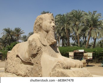 MEMPHIS, EGYPT – OCTOBER 8,2016: A smiley sphinx in Memphis open air museum. City is located near to the pyramids of Giza