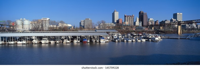 Memphis skyline from Mississippi River with marina in foreground in Tennessee, USA