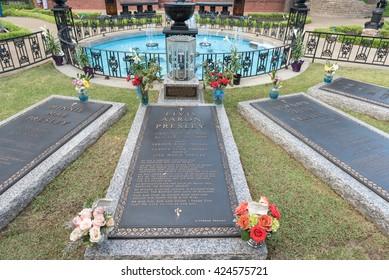 MEMPHIS, TENNESSEE - APRIL 07, 2016: Elvis Presley Grave in Graceland. Elvis Aaron Presley