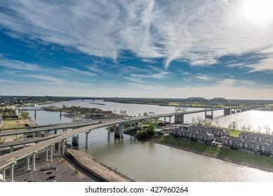MEMPHIS, TENNESSEE - APRIL 09, 2016: Cityscape of Memphis. Mississippi river and Hernando de Soto Bridge