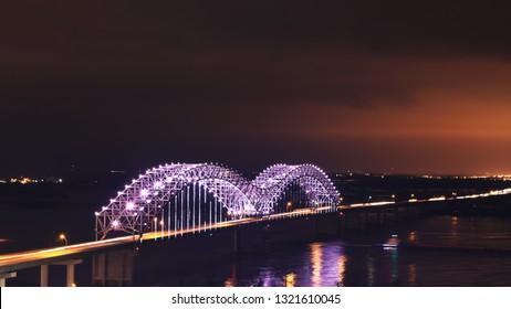 A Memphis, Tennessee bridge after dark