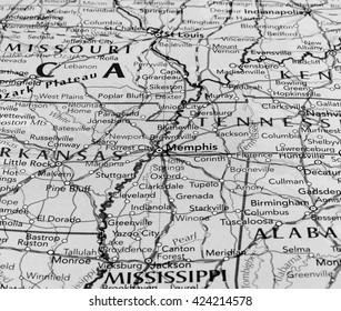 MEMPHIS, TENNESSEE - CIRCA MAY 2016: Detail of a map of the city with selective focus on town name in black and white