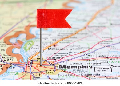 Memphis, Tennessee. Red flag pin on an old map showing travel destination.