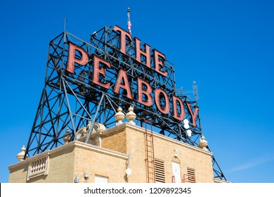 MEMPHIS, TENNESSEE - SEPTEMBER 28, 2018: The Peabody Memphis is a luxury hotel in Downtown Memphis, Tennessee.