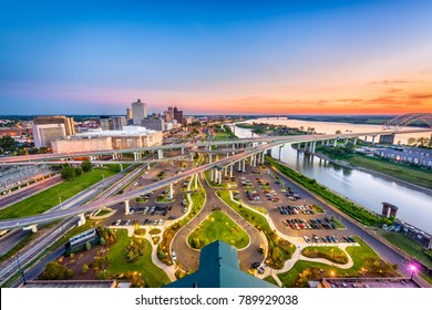 Memphis, Tennessee, USA aerial skyline view with downtown and Mud Island.