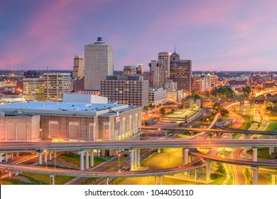 Memphis, Tennessee, USA downtown skyline at twilight.