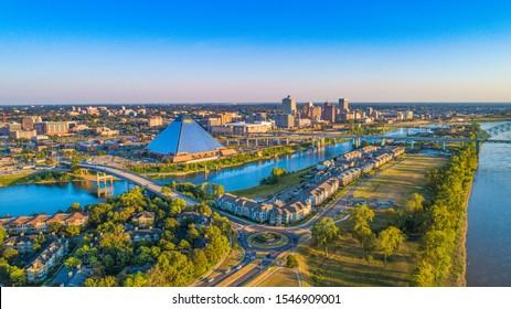 Memphis, Tennessee, USA Downtown Skyline Aerial Panorama.