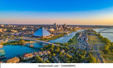 Memphis, Tennessee, USA Drone Skyline Aerial Panorama.