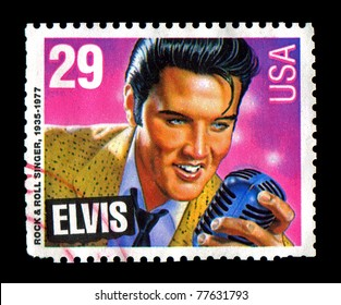 Memphis, Tennessee, USA - January 8, 1993: USA Issues commemorative postage stamp features an illustration of Elvis Presley holding a microphone. Elvis Aaron Presley: January 8, 1935 - August 16, 1977