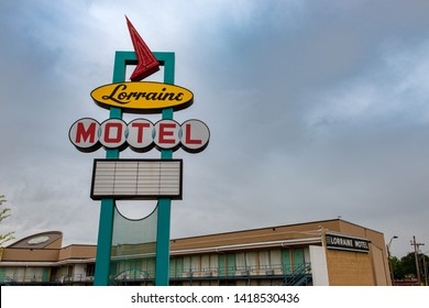Memphis, Tennessee, USA - June 24, 2014: The Lorraine Motel Sign at the National Civil Rights Museum in the city of Memphis, Tennessee.