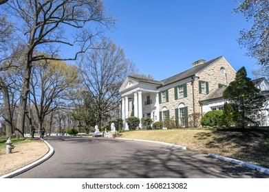 MEMPHIS, TENNESSEE, USA - MARCH 22, 2019: Graceland in Memphis. The mansion was built in 1939 but later bought by Elvis Presley who lived here from 1957 – 1977.