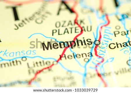 Memphis Tennessee Usa On Map Stock Photo Edit Now 1033039729