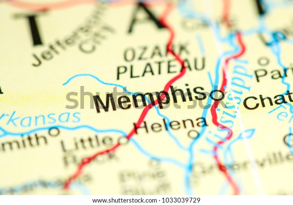 Memphis Tennessee Usa On Map Stock Photo (Edit Now) 1033039729
