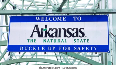 Memphis, Tennessee/USA - July 01, 2015:  Welcome to Arkansas highway sign on I-40 between Tennessee and Arkansas.