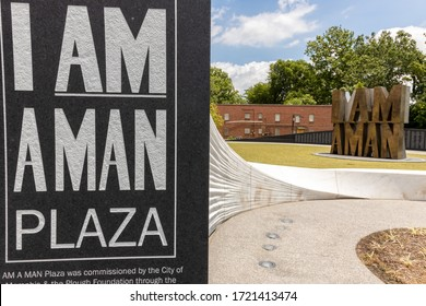 Memphis, Tennessee/USA - JUNE 20, 2019 - I AM A MAN PLAZA sign up close wall sweeping away from viewer