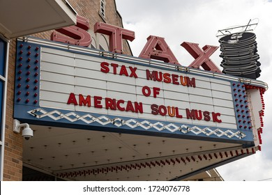 Memphis, Tennessee/USA - June 20, 2019:  Stax Marquee with lights off during the day Memphis, TN