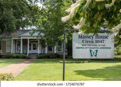 Memphis, Tennessee/USA - June 20, 2019:  Victorian Village Massey House front lawn in Memphis TN with circa 1847 sign and home of the Memphis City Beautiful Commission