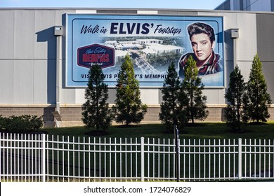 Memphis, Tennessee/USA - June 20, 2019:  Walk in Elvis' Footsteps sign- Graceland, Memphis, TN