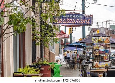Memphis, Tennessee/USA - June 20, 2019:  Arcade Restaurant neon signs on sidewalk Main Street
