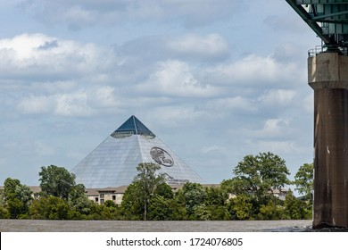 Memphis, Tennessee/USA - June 21, 2019:  Bass Pro Shop in The Pyramid from the Mississippi River