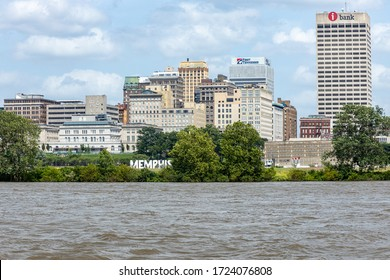 Memphis, Tennessee/USA - June 21, 2019:  Memphis Skyline from the middle of the Mississippi River