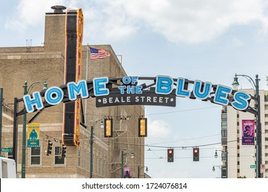 Memphis, Tennessee/USA - June 21, 2019:  Home of the Blues Beale Street sign over Main and Beale