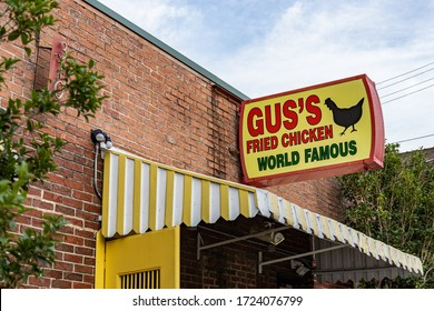 Memphis, Tennessee/USA - June 22, 2019:  Gus's Fried Chicken storefront sign and awning
