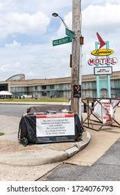 Memphis, Tennessee/USA - June 23, 2019:  Protest site Lorraine Motel, Mulberry and Butler, Memphis, TN