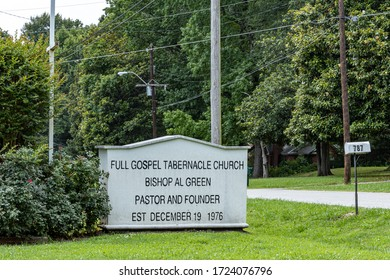 Memphis, Tennessee/USA - June 23, 2019:  Full Gospel Tabernacle Church sign, Reverend Bishop Al Green