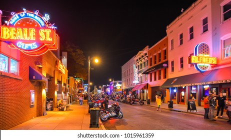 Memphis, TN - Sep. 20, 2017: Beale street at night. Blues clubs & restaurants lining Beale street are major tourist attractions in Memphis. It is an important location in the history of the blues.