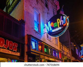Memphis, TN - Sep. 20, 2017: Memphis Music is a popular music store on Beale Street in Memphis, Tennessee.