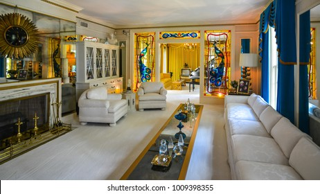 Memphis, TN - Sep. 21, 2017: Living room in Elvis Presley's Graceland Mansion. The mansion had been placed in the National Register of Historic Places.