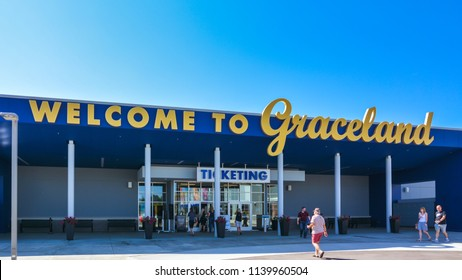 Memphis, TN - Sep. 21, 2017: Entrance to Graceland Tour, the main attraction of which is Elvis Presley's Graceland Mansion.