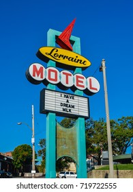 Memphis, TN - Sep. 21, 2017: Sign, Lorraine Motel. Dr. Martin Luther King, Jr. was assassinated on a second floor balcony of the Lorraine Motel on Apr. 4, 1968.