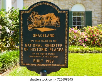 Memphis, TN - Sep. 21, 2017: Marker in front of Elvis Presley's Graceland mansion indicating that the property has been placed in the National Register of Historic Places.