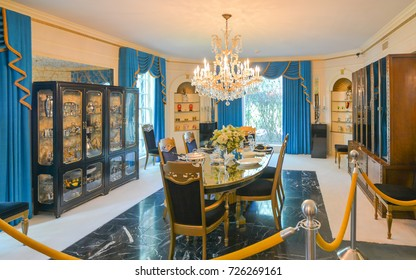 Memphis, TN - Sep. 21, 2017: Dining room in Elvis Presley's Graceland Mansion. The mansion had been placed in the National Register of Historic Places.