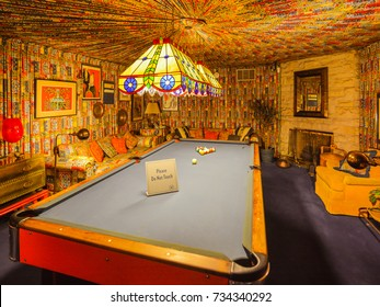 Memphis, TN - Sep. 21, 2017: Pool room in Elvis Presley's Graceland Mansion. The mansion had been placed in the National Register of Historic Places.