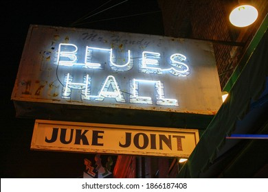 Memphis, TN, United States - Circa 2017. Blues Hall Juke Joint Neon Sign from Beale Street in Memphis