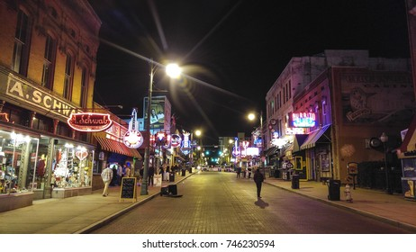 MEMPHIS, TN, USA - December 19, 2015: Beale street at night. Memphis is known as the musical home to  soul, blues and rock 'n' roll.
