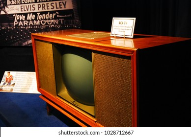 Memphis, TN, USA July 20, 2009 A 1960 style RCA Television, once belonging to Elvis Presley, is on display in Graceland, Memphis, Tennessee