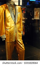 Memphis, TN, USA July 20, 2009 Elvis Presley's gold suit is on display at Graceland in Memphis, Tennessee