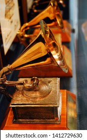 Memphis, TN, USA July 20, 2009 Authentic Grammy Awards on display at a museum in Memphis, Tennessee