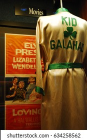 Memphis, TN , USA July 20, 2009 The boxing robe worn by Elvis Presley in his movie Kid Galahad is on display at the Graceland Museum