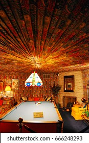 Memphis, TN, USA July 20, 2009 Elvis Presley's pool room at Graceland is designed in the lavish decor of the 1970s
