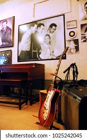 Memphis, TN, USA July 21, 2009 musical instruments are ready to jam at Sun Studios in Memphis Tennessee. The studio features A photo of the Million Dollar Quartet who recorded here in 1956.