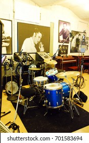 Memphis, TN, USA July 21, 2009 A drum set sits in Sun Studios in Memphis Tennessee, where Elvis Presley, Johnny Cash, Jerry Lee Lewis and U2 have recorded.