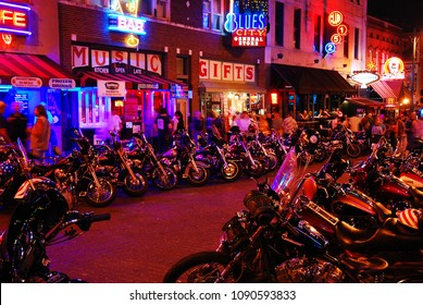 Memphis, TN, USA July 22 Motorcycles crowd in front of the taverns and cafes during the weekly Biker Nights on Beale Street in Memphis, Tennessee