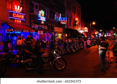 Memphis, TN, USA July 22, 2009 Motorcycle Riders descend on Beale Street in Memphis Tennessee.  The open area hosts biker nights every Wednesday.